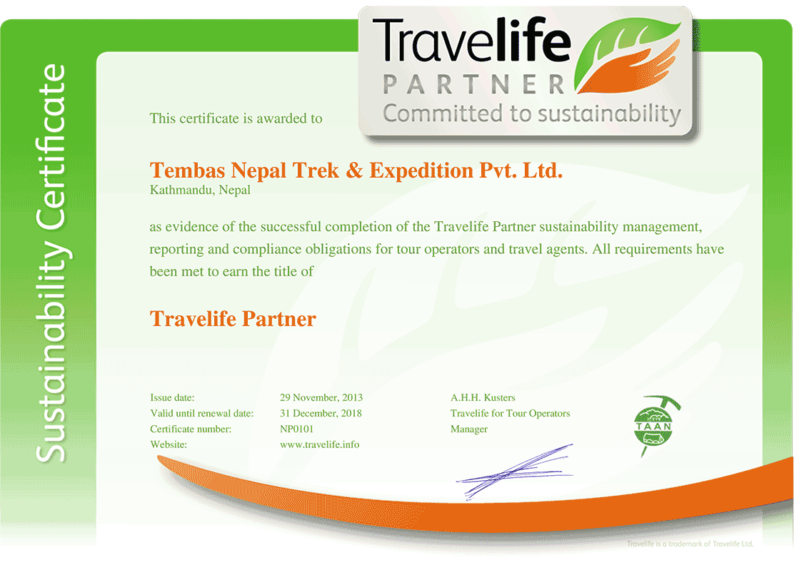 Temba Gyalbo Tamang Travelife Sustainability Manager